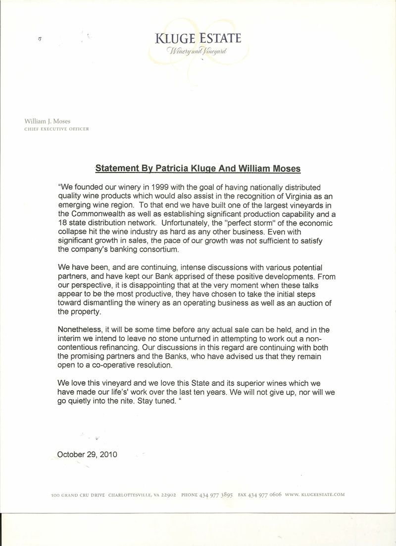 Kluge Winery Statement October 29th0001